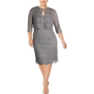 Alex Evenings Womens Dress With Cardigan Sleeveless Glitter