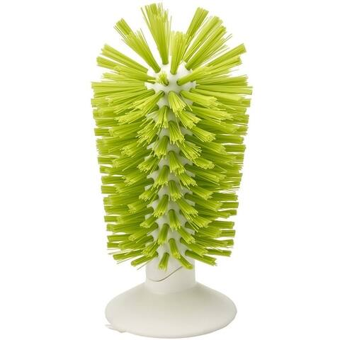 Joseph Joseph Brush-Up Glass Brush with Suction Cup Upright Stays in Sink Bristle Scrub Kitchen Bottle Cleaning Washing, Green