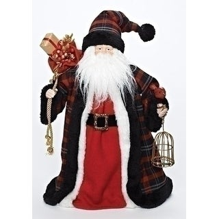 """16"""" Plaid Santa with Bird and Birdcage Christmas Tree Topper - Unlit"""