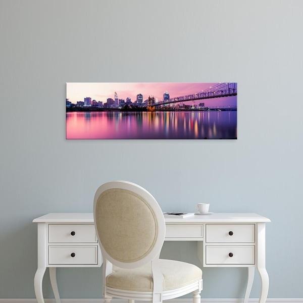Easy Art Prints Panoramic Image 'Bridge across Ohio River with skyscrapers in background, Cincinnati, Ohio' Canvas Art
