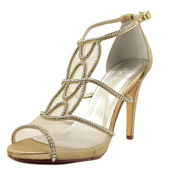 Caparros Ellen Women Open Toe Canvas Gold Sandals