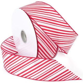"Peppermint Wired Ribbon 2.5""X50yd-Red/White"