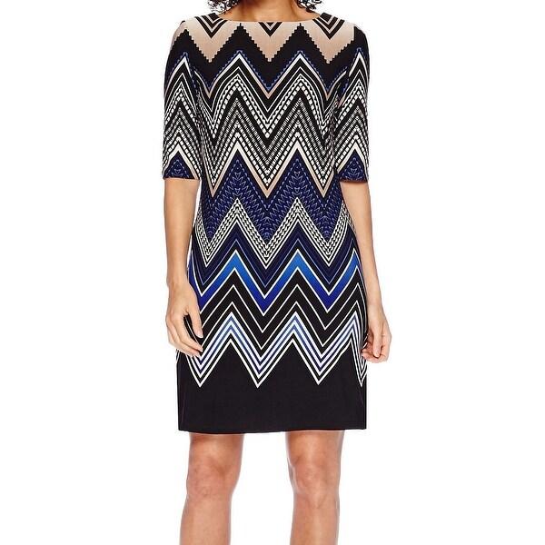 4bd595b936c9 Shop Sandra Darren NEW Blue Womens Size 8P Petite Chevron Print Shift Dress  - Free Shipping On Orders Over $45 - Overstock - 17937618
