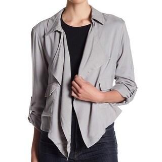 LIVING DOLL NEW Gray Women's Size Large L Draped Flap-Pocket Jacket