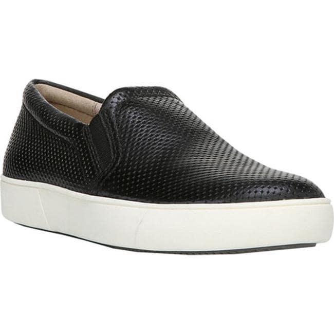black perforated slip on sneakers