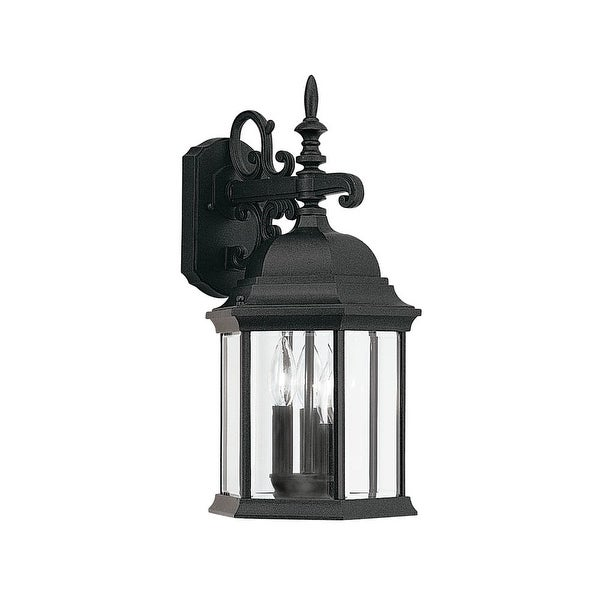 "Designers Fountain 2981-BK 3-Light 9.5"" Cast Aluminum Wall Lantern from the Devonshire Collection - Black - n/a"