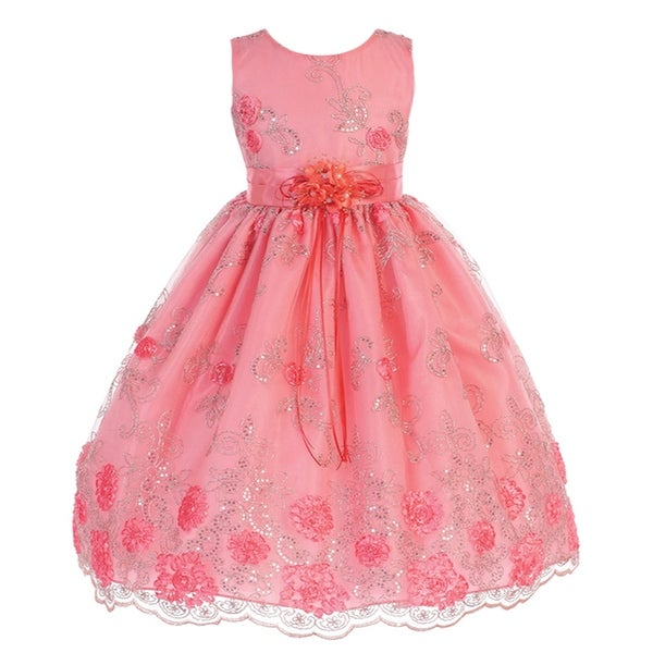 4d57bc631f54 Shop Little Girls Coral Flower Sequins Print Sleeveless Flower Girl ...
