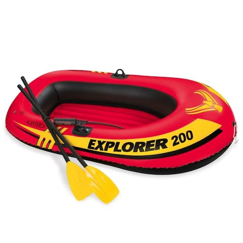IntexA 58331EP Explorer 200 Inflatable 2-Person Boat Set w/ Oars & Pump, 73""