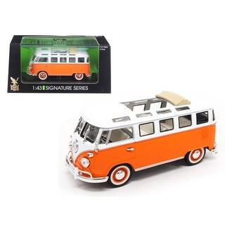 1962 Volkswagen Microbus Bus Van With Open Roof Orange 1/43 Diecast Model Car by Road Signature