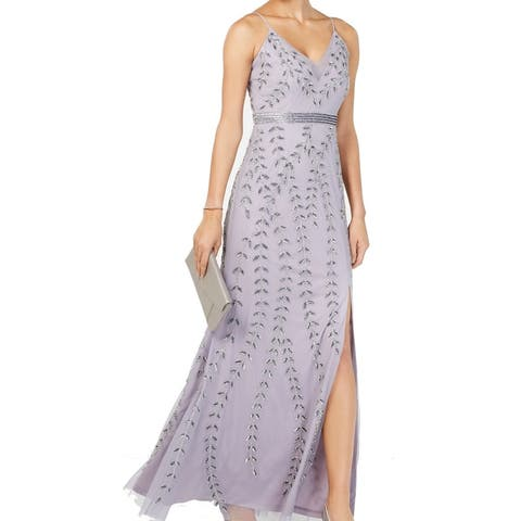 Adrianna Papell Women's Dress Lavender Embellished Gown