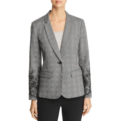 Le Gali Womens Lucia One-Button Suit Jacket Floral Print Long Sleeves - Black Multi