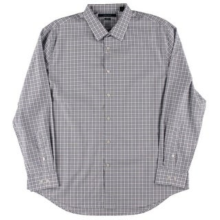 Perry Ellis Mens Non-Iron Plaid Button-Down Shirt - XXL