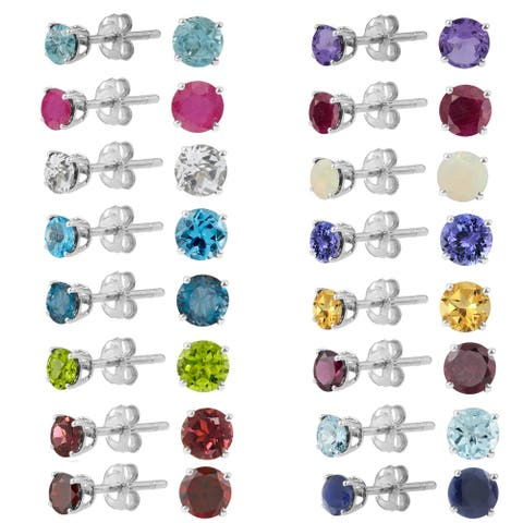 Sterling Silver Round 4mm Gemstone Birthstone Stud Earrings
