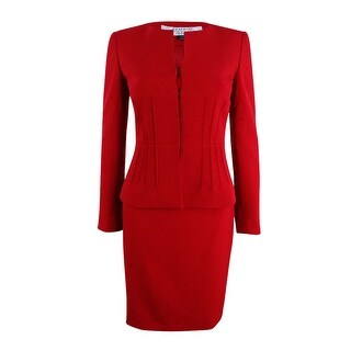 Tahari ASL Women's Pintucked Peplum Skirt Suit - Red
