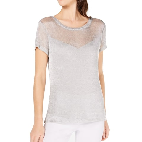 INC Women's Blouse Silver Size XL Mesh Shiny Scoop Neck Sheer Illusion
