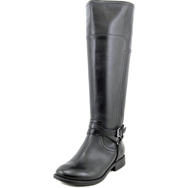 Marc Fisher Alexis Women Round Toe Leather Black Knee High Boot