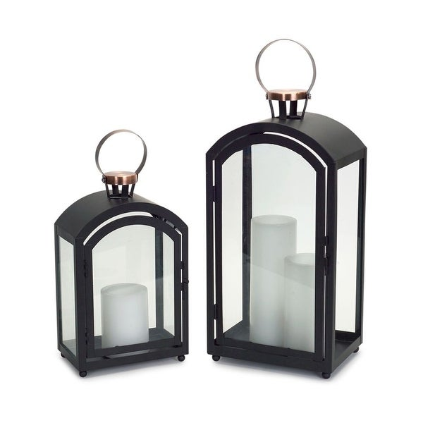 "Set of 2 Jet Black Contemporary Decorative Metal Candle Lantern 20"" - N/A"