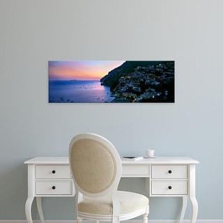 Easy Art Prints Panoramic Images's 'Buildings lit at night, Positano, Amalfi, Amalfi Coast, Campania, Italy' Canvas Art