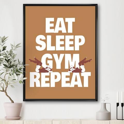 Designart 'Eat Sleep Gym Illustration Of Girls In Swimsuit' Modern & Contemporary Framed Canvas Wall Art Print
