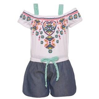 Girls White Mint Ethnic Motif Print Waist Tie Off-Shoulder Romper