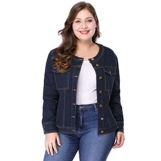 Women's Plus Size Long Sleeves Collarless Denim Jacket - Blue