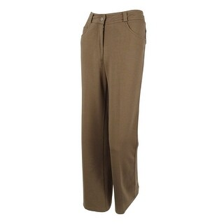 Women's 5 Pocket Relaxed Fit Ponte Trouser Pants (Mushroom, PM) - MUSHROOM - pm