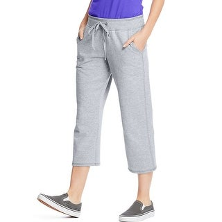 Hanes Women's French Terry Pocket Capri - Size - L - Color - Light Steel