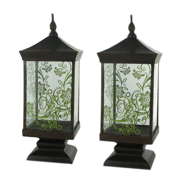 Set Of 2 Pierced Metal Glass Thai Lanterns Free Shipping On Orders Over 45