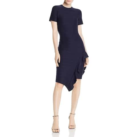Shoshanna Womens Zola Midi Dress Ruffled Asymmetric - Navy