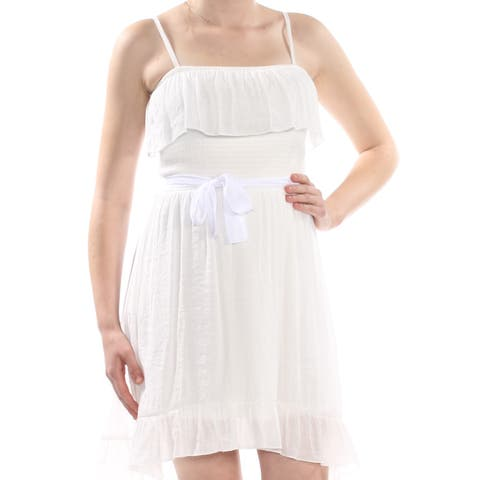 BCX Womens Ivory Smocked Ruffle Square Neck Above The Knee A-Line Dress Juniors Size: M