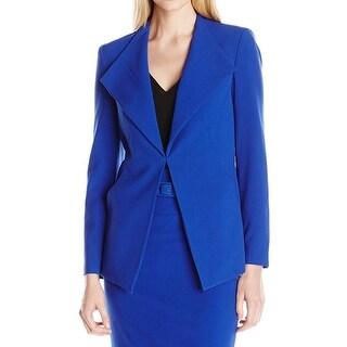 Nine West NEW Solid Blue Women's Size 4 Stretch Lapel Collar Jacket