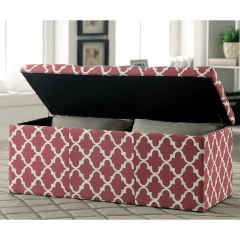 Furniture of America Gede Contemporary Fabric Lift-top Storage Bench