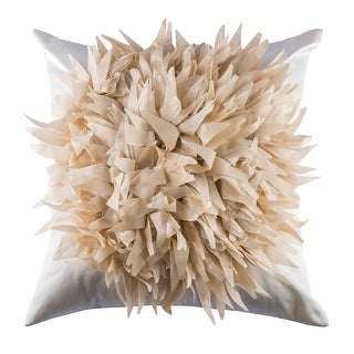 100% Handmade Imported Dahlia Flower Throw Pillow Cover, Light Gold on Cream