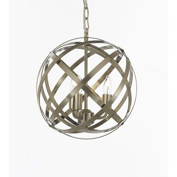 Contemporary Brushed Silver 3 Light Orb Chandelier Pendant Lighting