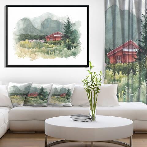 Designart 'Watercolor House Aad Mountains' Landscape Framed Canvas Art Print