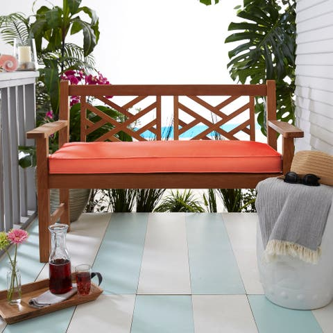 Coral Corded Indoor/ Outdoor Bench Cushion
