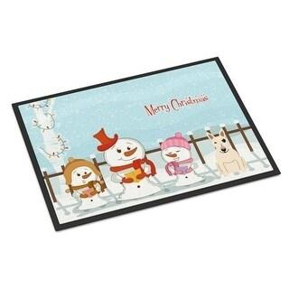 Carolines Treasures BB2469MAT Merry Christmas Carolers Bull Terrier White Indoor or Outdoor Mat 18 x 0.25 x 27 in.