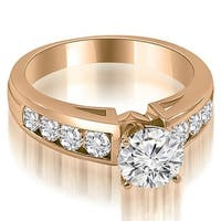 1.55 cttw. 14K Rose Gold Classic Channel Round Cut Diamond Engagement Ring