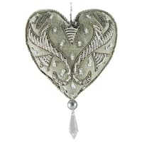 Set of 3 Hand Crafted Silver Silk Bead Encrusted Heart Christmas Ornaments 3""