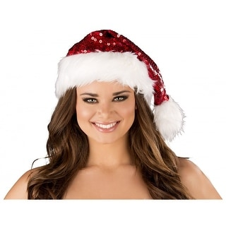 Trimmed Sequin Christmas Hat Adult Costume