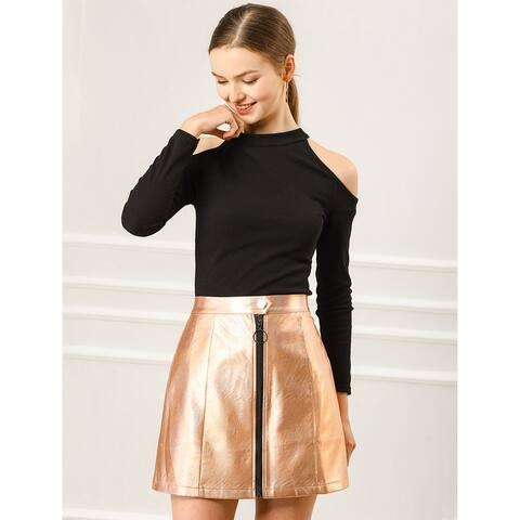 Allegra K Women's Casual Metallic Zipper High Waist Mini Skirt