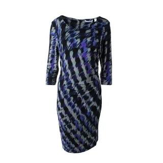 BOSS Hugo Boss Womens Pleated Patterned Wear to Work Dress - XL