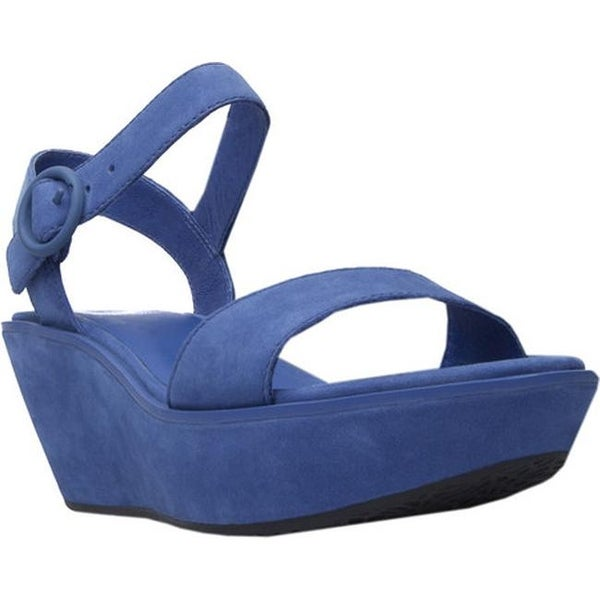 Shop Camper Women s Damas Wedge Sandal Blue Leather - Free Shipping ... a864fd74c45d