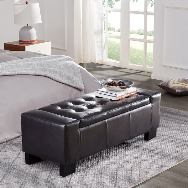 Shop Belleze 51 Quot Inch Storage Ottoman Bench Faux Leather