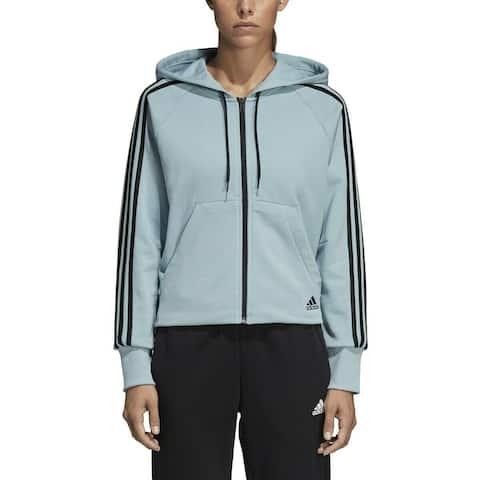 Adidas Women's Blue Black Size XL Hooded Full Zip 3-Striped Jacket