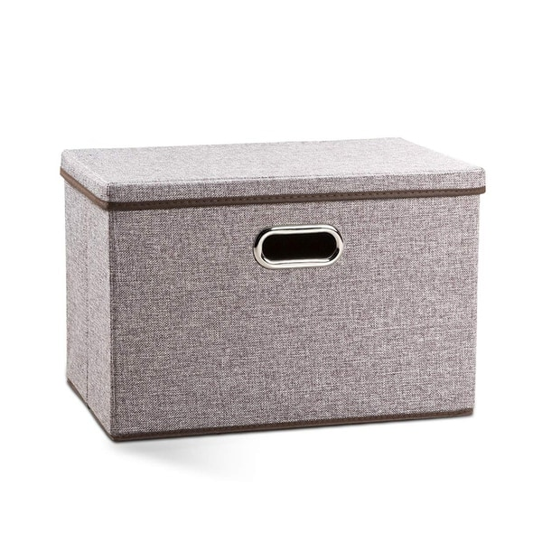 Enova Home Large Collapsible Storage Bins with Cover (Brown). Opens flyout.