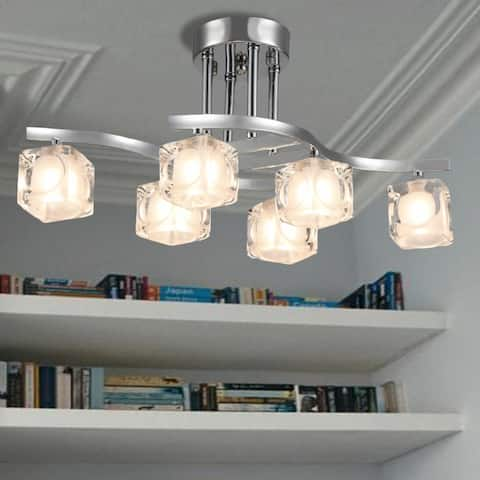 Delphina Chrome 6-Light Semi-Flush mount with Clear Glass Shade - Silver