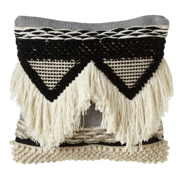 "18"" Black and White Hand Woven Triangle Designed Decorative Pillow with Fringe"
