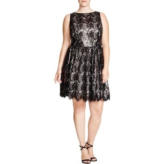 BB Dakota Womens Cocktail Dress Mesh Sequined