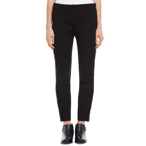 Karen Kane Women's Piper Braid Trim Ankle Skinny Pants Black Size Medium